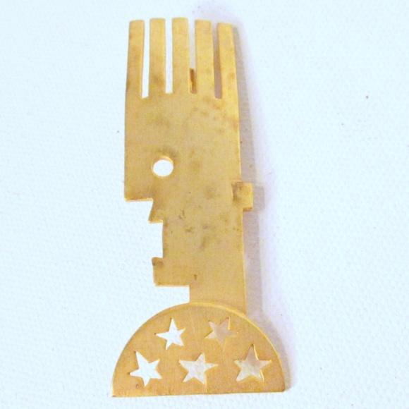 Jewelry - Funky Boho Gold-toned Art Pin Brooch
